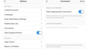About Instagram's keyword moderation tool
